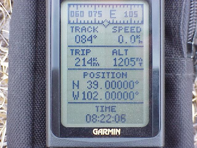GPS screen showing coordinates of confluence.