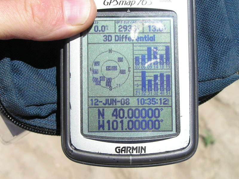 GPS reading at the confluence.