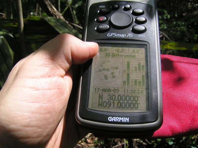 Success!  GPS reading at the confluence.