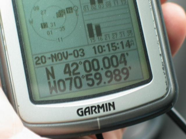 The GPS at 55 feet from the confluence (about 28-foot accuracy)...