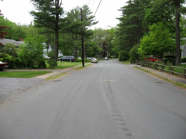 Looking west down Mile Brook Road.