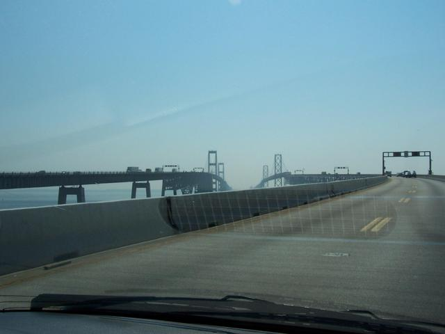 Heading West across the 7 km long Chesapeake Bay Bridge.