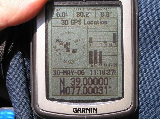 GPS receiver as close to the confluence as possible before losing signal.