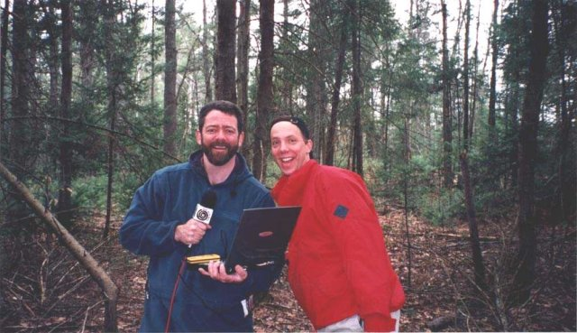 Mark and Matt in the Maine woods at the confluence