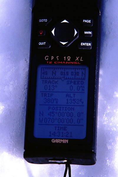 The GPS reading 45 N 70 W