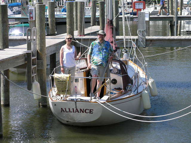 Sailing Vessel Alliance with crew members Sally and Mitch