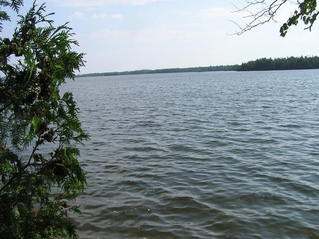 #1: A view from Caribou Lake's boat ramp. The confluence point lies 0.65 miles away