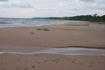 #1: View west along the shore of Lake Michigan.