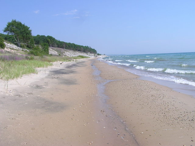 Looking south-east along the beach