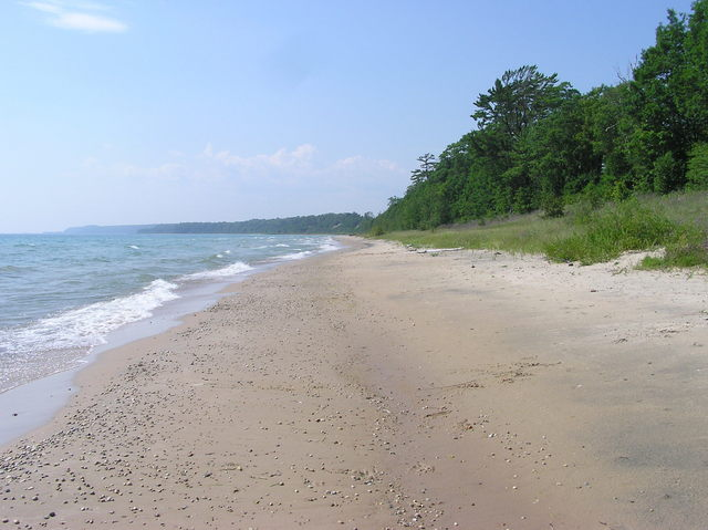 Looking north-west along the beach