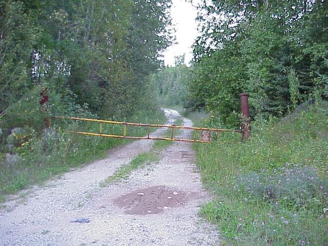 Gate marking the start of the confluence hike, looking east.