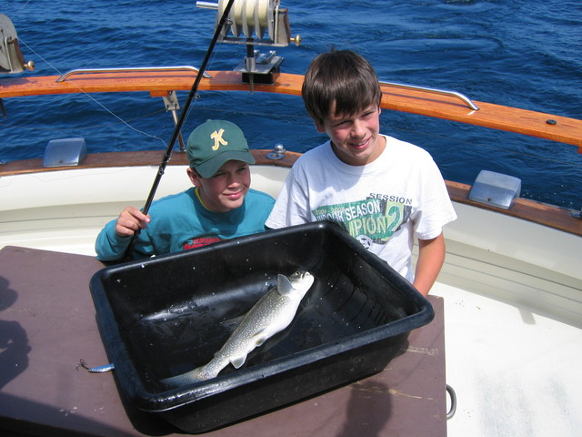 The Boys, with their first catch of the day