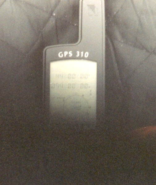 This picture of the GPS didn't turn out so well, but you can still make out the degrees.