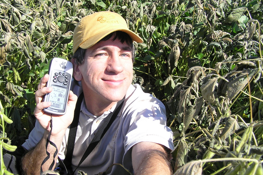 Joseph Kerski deep in the soybeans at 45 North 94 West.