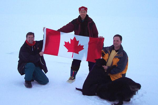 Staking a temporary claim to an extra square foot of ice for Canada, just what we need. L-R, Josh, Derek, Tony