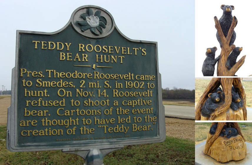 "Historic marker at the Onward Store still tells ""Teddy Bear"" story, while newly carved bears can be found in the nearby town of Rolling Fork, MS."