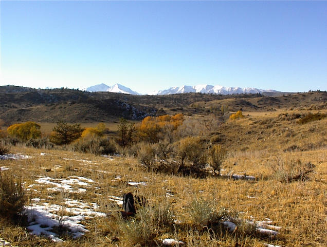 West view of Crazy Mountains from confluence