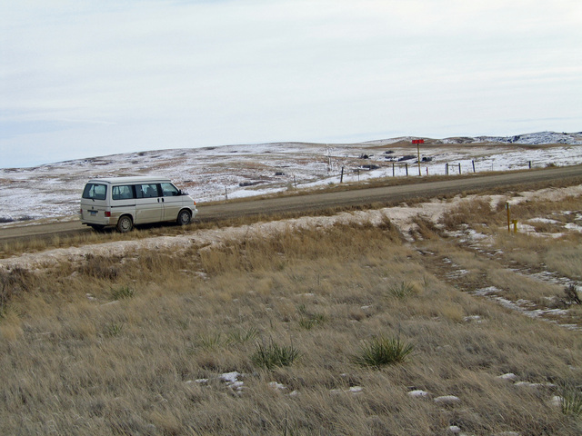 Parking along the road south of the confluence