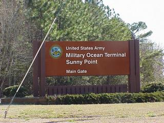 #1: Sunny Point sign, about 2 km from confluence.