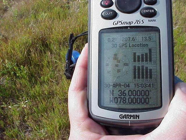 GPS receiver and field grasses at confluence.
