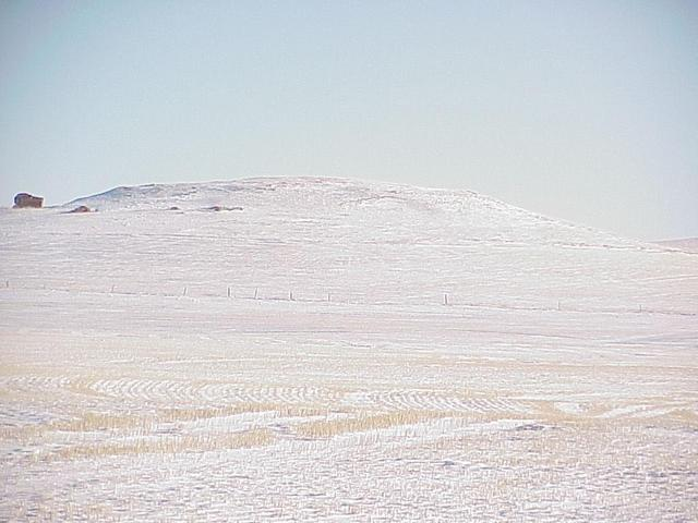 View to the east, showing one of the many buttes in the area.