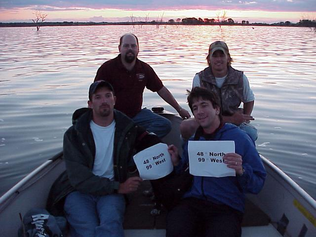 Back row, left to right:  Roger Palmer (GIS ETC) and Mat Sorum (North Dakota Game and Fish); Front row, left to right:  Ryan Krapp (North Dakota Game and Fish), Hailey (DOG), Joseph Kerski (USGS).