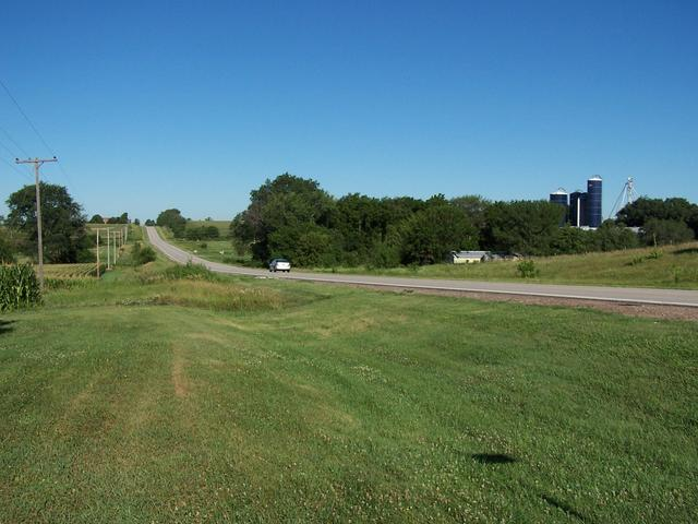 The view West from the farmyard looking down Highway 66.