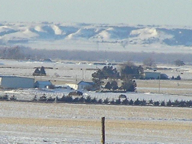 View to the southwest from the confluence across the Platte Valley.