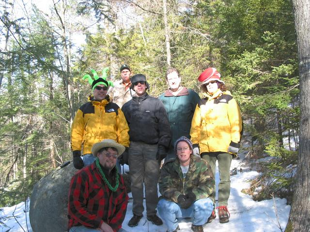 The group at the confluence.  Left to right: Dave Sparks and Reb in the front.  Ben, William, Dan, Charles and Michelle in the back.  Photograph by David