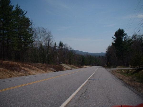 The road approaching the New Hampshire border.