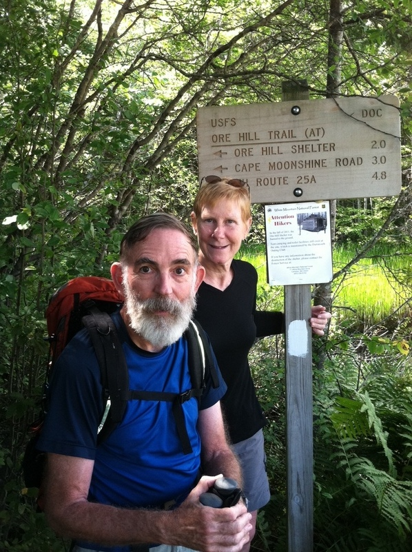 Confluence Hunters turn west onto NH 25C after 1780.9 miles on the Appalachian Trail