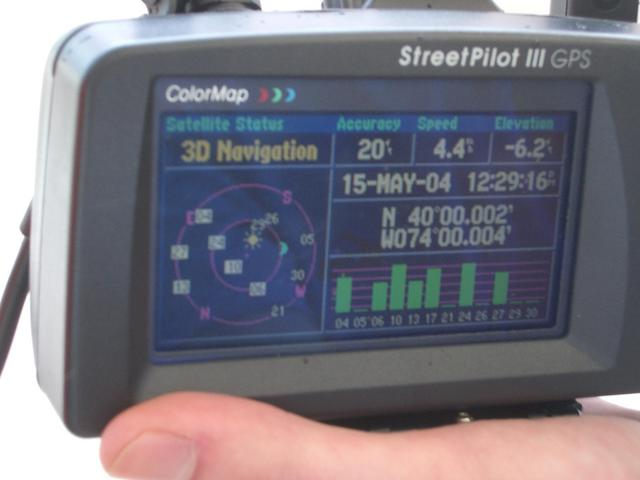 This is a pic of the GPS unit we used with the reading and date.