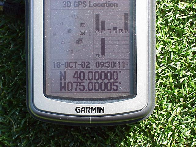 GPS receiver indicating coordinates and time of confluence visit.