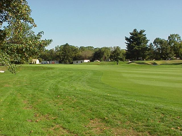 View from the confluence to the north, toward the green of the fourth fairway.