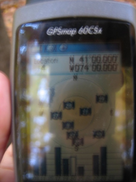 Shot of GPS reading N41 00.000 W74 00.000