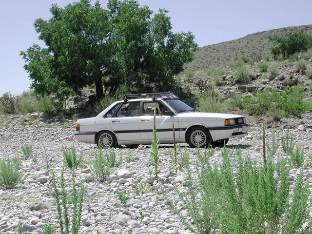 Trusty Audi 4000 forging a dry streambed