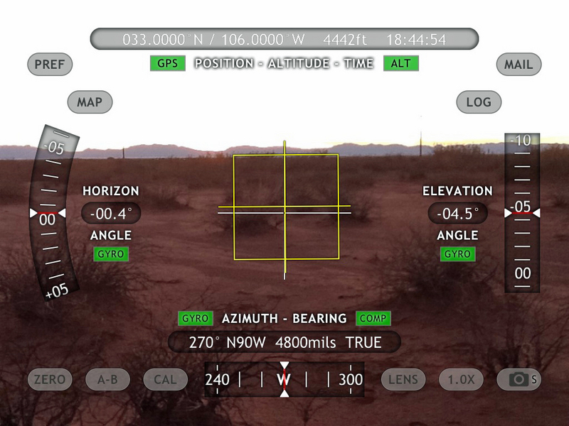 iPad View West with Theodolite App overlay of position data