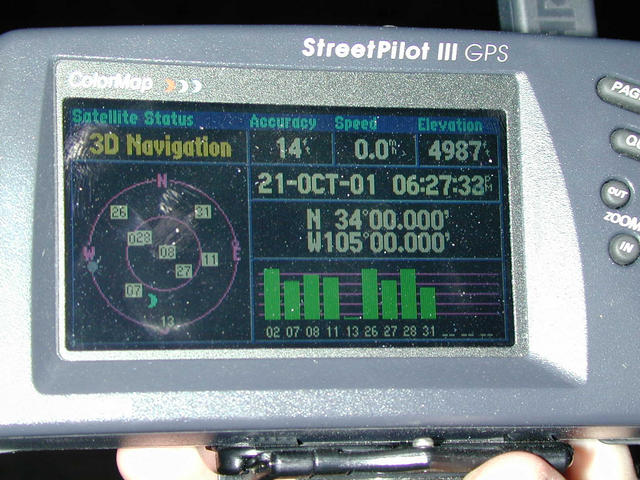 Photo of my GPS at the confluence site