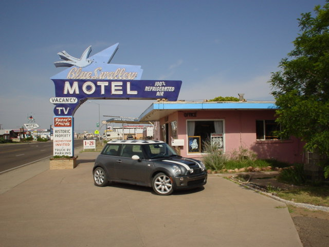 MINI Cooper at the Blue Swallow Motel in Tucumcari