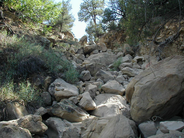 Route up steep wash to confluence