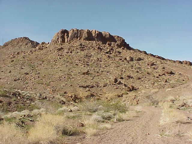 Small mountain where the confluence is located, about 4/5 of the way to the top.