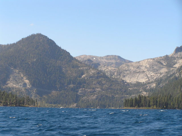 View to the west-southwest from the confluence in Lake Tahoe, toward Emerald Bay.