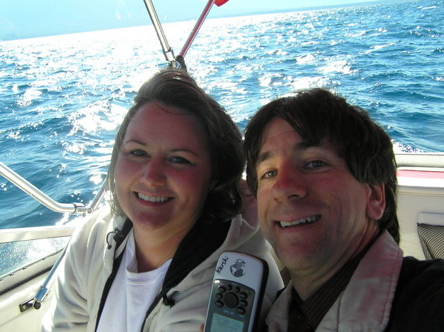 Barbaree Duke and Joseph Kerski in self-portrait aboard the confluence boat on Lake Tahoe.