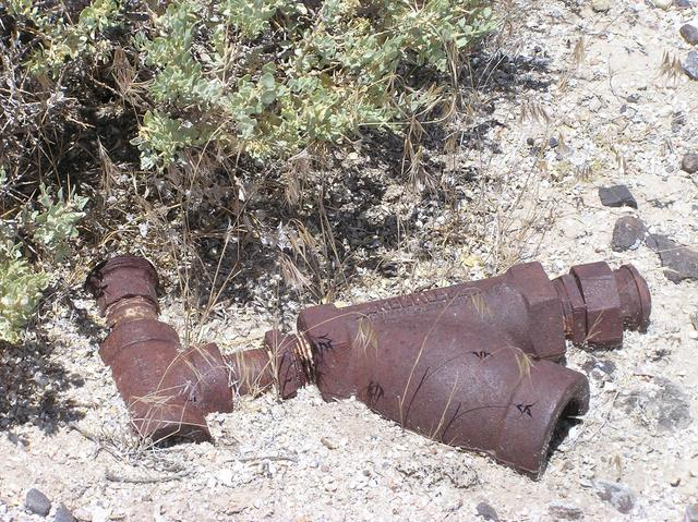 A rusted pipe fixture, just feet from the confluence point