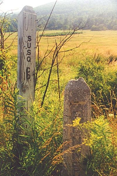 Old NY-PA state line marker on other side of 26/267