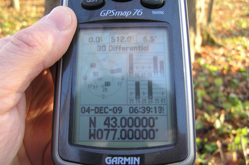 GPS receiver at the confluence of 43 North 77 West.