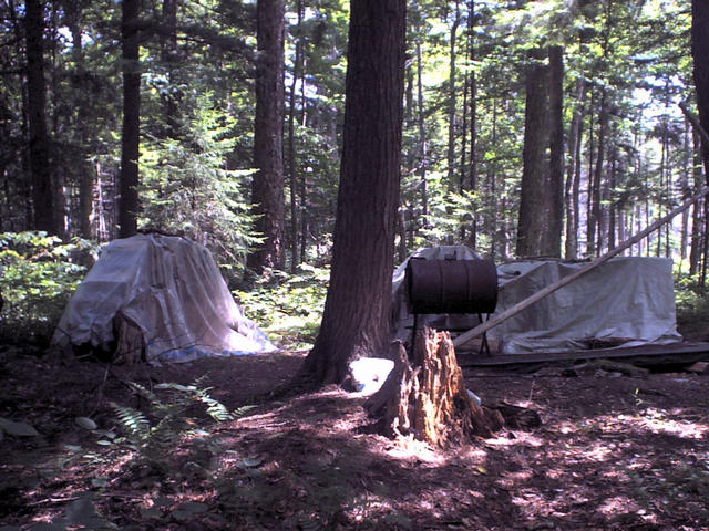 Possibly illegal wilderness camp a half mile northwest