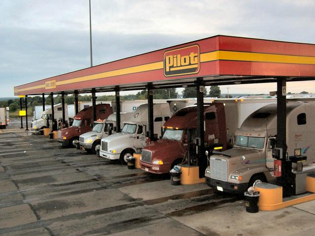 Trucks fueling up at the Pilot Travel Center.
