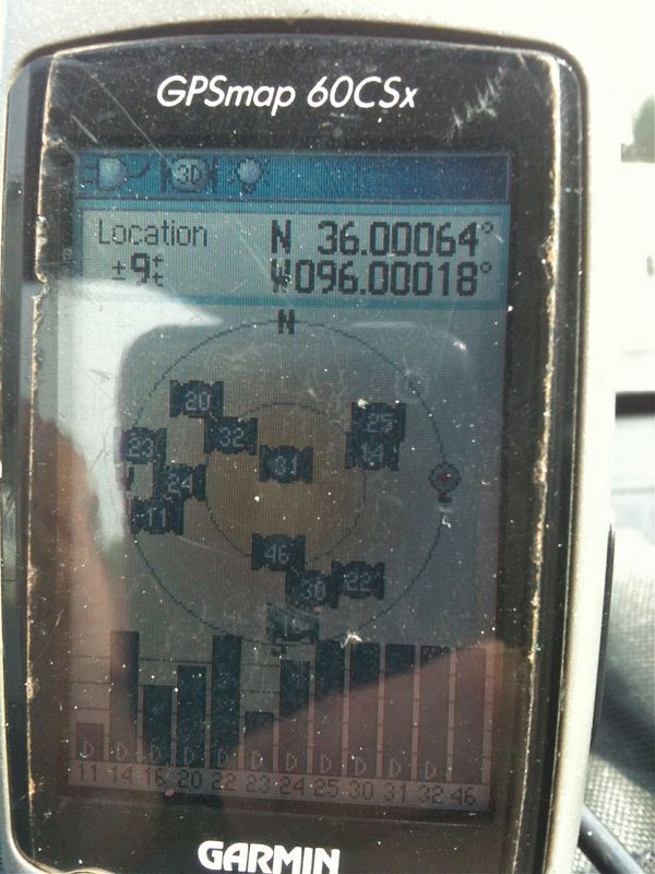 My GPS receiver, 232 feet from the confluence point