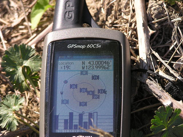 My GPS, 189 feet from the confluence point